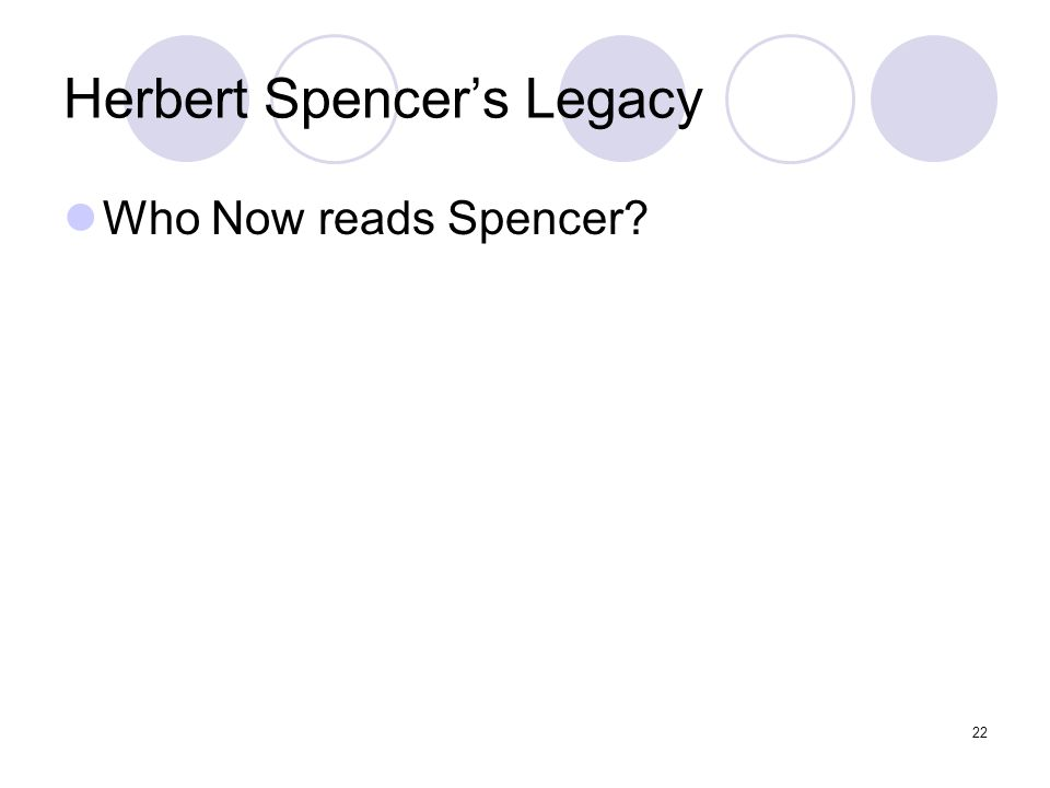 22 Herbert Spencer's Legacy Who Now reads Spencer?