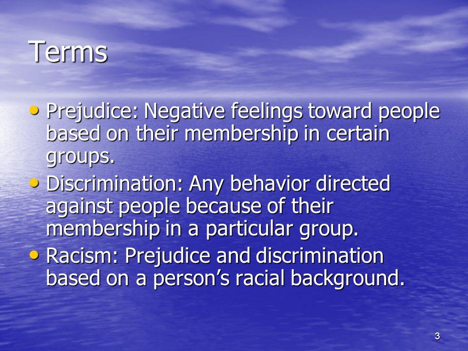 3 Terms Prejudice: Negative feelings toward people based on their membership in certain groups.