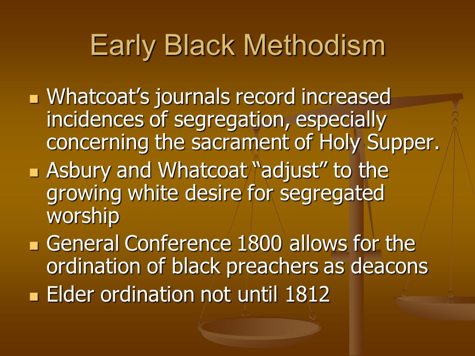Convention of 1816 African Methodist Church formed African Methodist Church formed Polity identical to Methodist Episcopal Polity identical to Methodist Episcopal Exception: no presiding elders Exception: no presiding elders Allen elected first Bishop Allen elected first Bishop Slave owners could not become members Slave owners could not become members