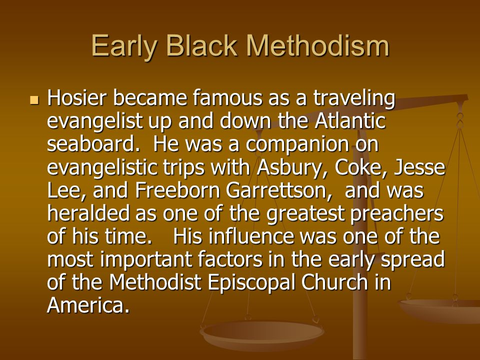 Early Black Methodism Mother African Zoar Church began in 1792, when a group of African Americans withdrew from Old St.