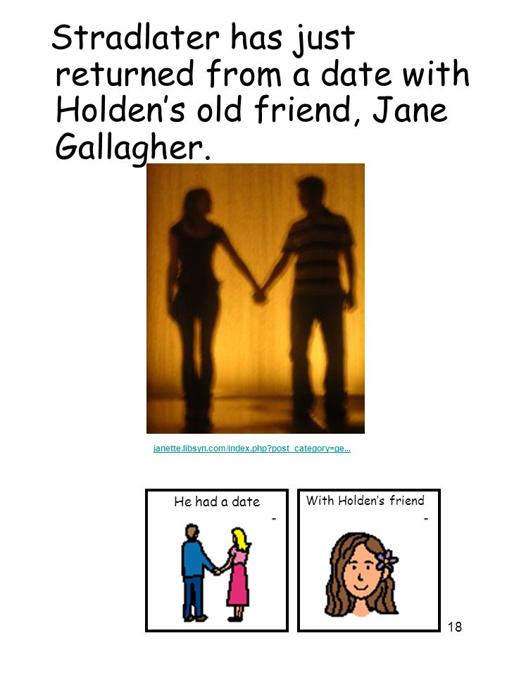 18 Stradlater has just returned from a date with Holden's old friend, Jane Gallagher.