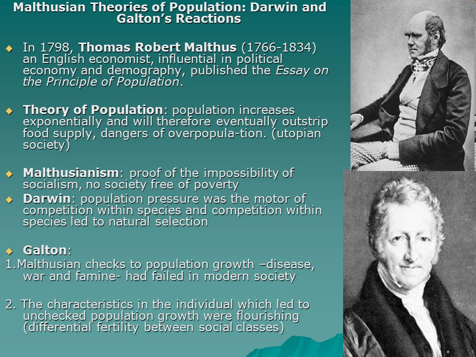 Malthusian Theories of Population: Darwin and Galton's Reactions  In 1798, Thomas Robert Malthus (1766-1834) an English economist, influential in pol