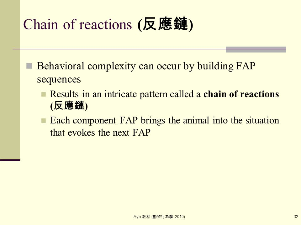 Ayo 教材 ( 動物行為學 2010) 32 Chain of reactions ( 反應鏈 ) Behavioral complexity can occur by building FAP sequences Results in an intricate pattern called a