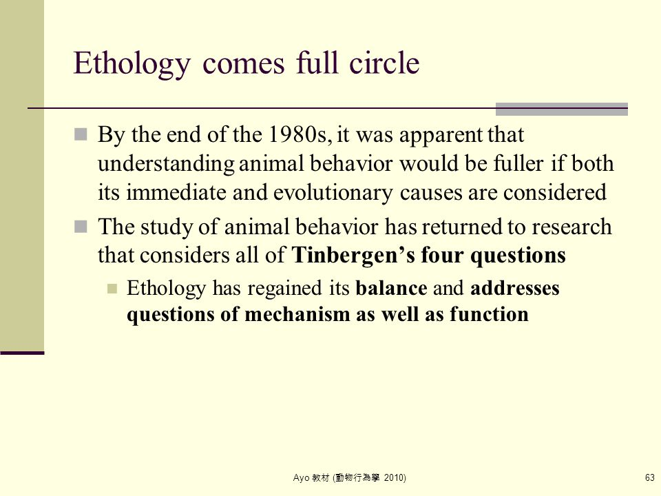 Ayo 教材 ( 動物行為學 2010) 63 Ethology comes full circle By the end of the 1980s, it was apparent that understanding animal behavior would be fuller if both