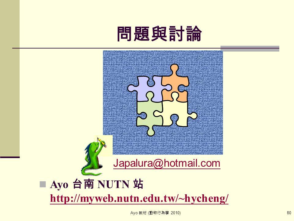 Ayo 教材 ( 動物行為學 2010) 80 問題與討論 Japalura@hotmail.com Ayo 台南 NUTN 站 http://myweb.nutn.edu.tw/~hycheng/ http://myweb.nutn.edu.tw/~hycheng/