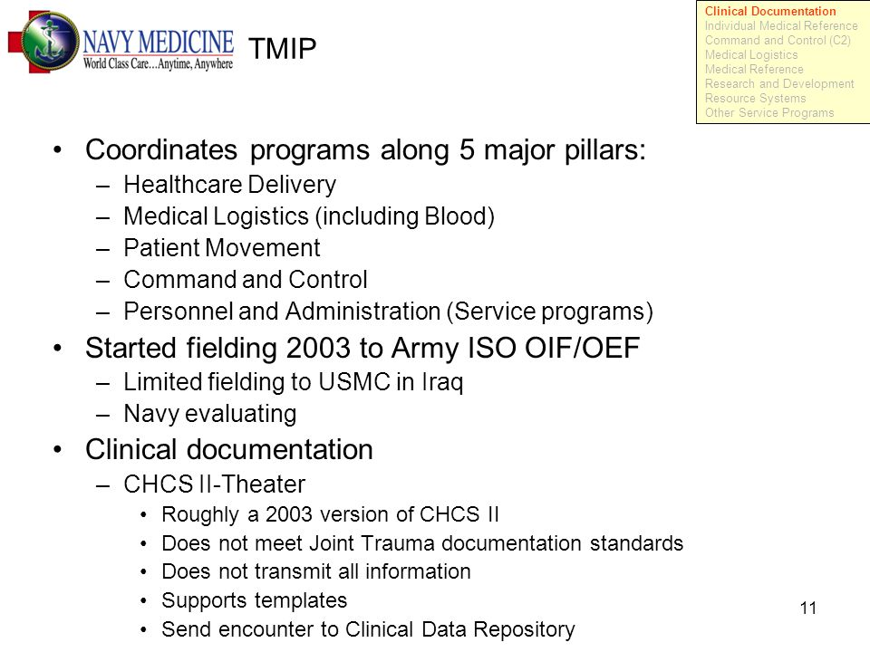 11 TMIP Coordinates programs along 5 major pillars: –Healthcare Delivery –Medical Logistics (including Blood) –Patient Movement –Command and Control –Personnel and Administration (Service programs) Started fielding 2003 to Army ISO OIF/OEF –Limited fielding to USMC in Iraq –Navy evaluating Clinical documentation –CHCS II-Theater Roughly a 2003 version of CHCS II Does not meet Joint Trauma documentation standards Does not transmit all information Supports templates Send encounter to Clinical Data Repository Clinical Documentation Individual Medical Reference Command and Control (C2) Medical Logistics Medical Reference Research and Development Resource Systems Other Service Programs