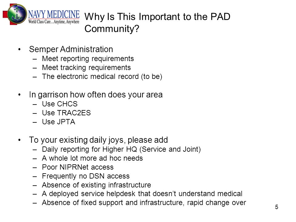 5 Why Is This Important to the PAD Community.