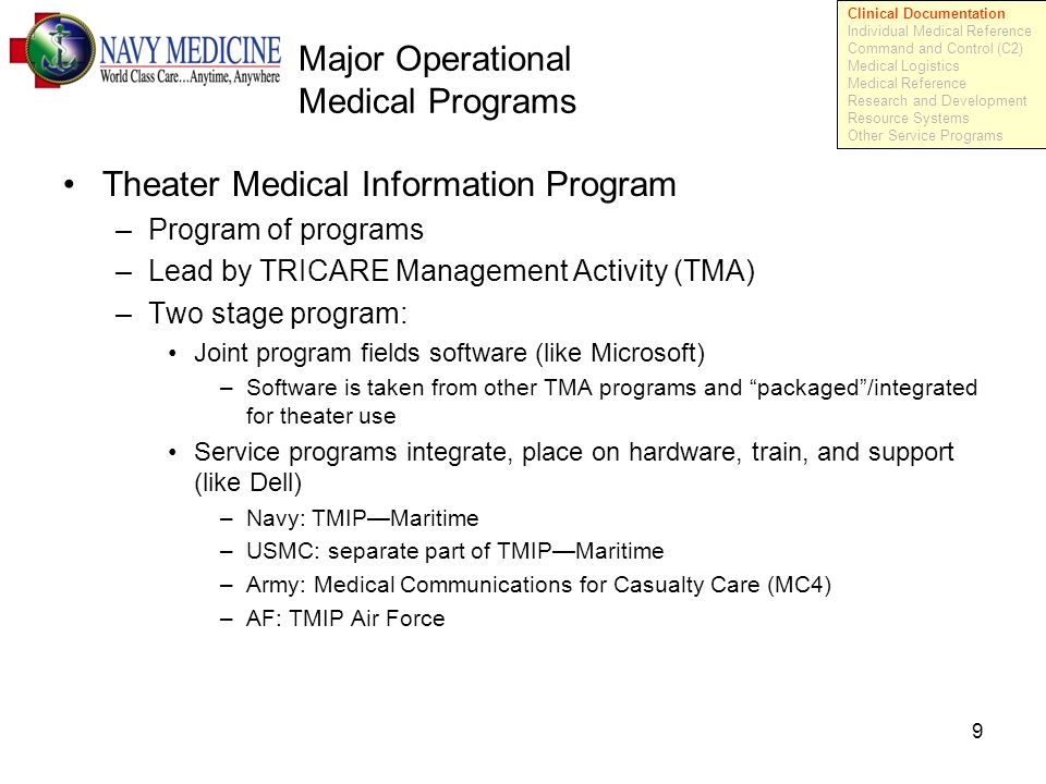 9 Major Operational Medical Programs Theater Medical Information Program –Program of programs –Lead by TRICARE Management Activity (TMA) –Two stage program: Joint program fields software (like Microsoft) –Software is taken from other TMA programs and packaged /integrated for theater use Service programs integrate, place on hardware, train, and support (like Dell) –Navy: TMIP—Maritime –USMC: separate part of TMIP—Maritime –Army: Medical Communications for Casualty Care (MC4) –AF: TMIP Air Force Clinical Documentation Individual Medical Reference Command and Control (C2) Medical Logistics Medical Reference Research and Development Resource Systems Other Service Programs