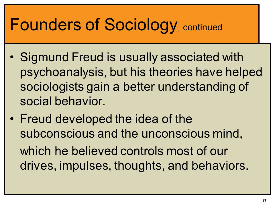 17 Founders of Sociology, continued Sigmund Freud is usually associated with psychoanalysis, but his theories have helped sociologists gain a better understanding of social behavior.