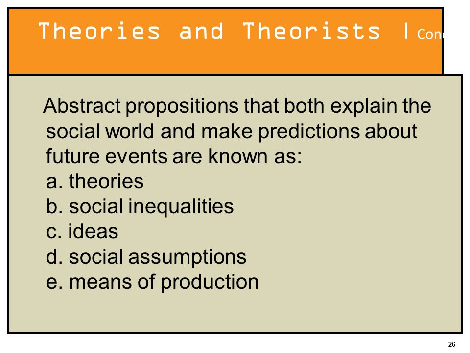26 Theories and Theorists | Concept Quiz Abstract propositions that both explain the social world and make predictions about future events are known as: a.