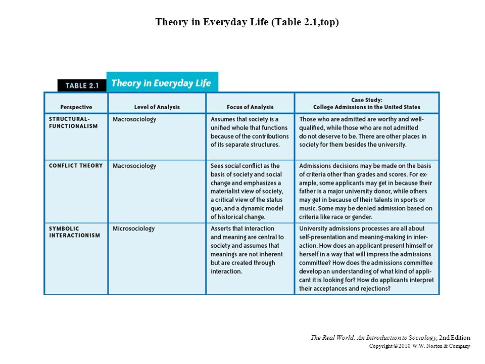 Theory in Everyday Life (Table 2.1,top) The Real World: An Introduction to Sociology, 2nd Edition Copyright © 2010 W.W.
