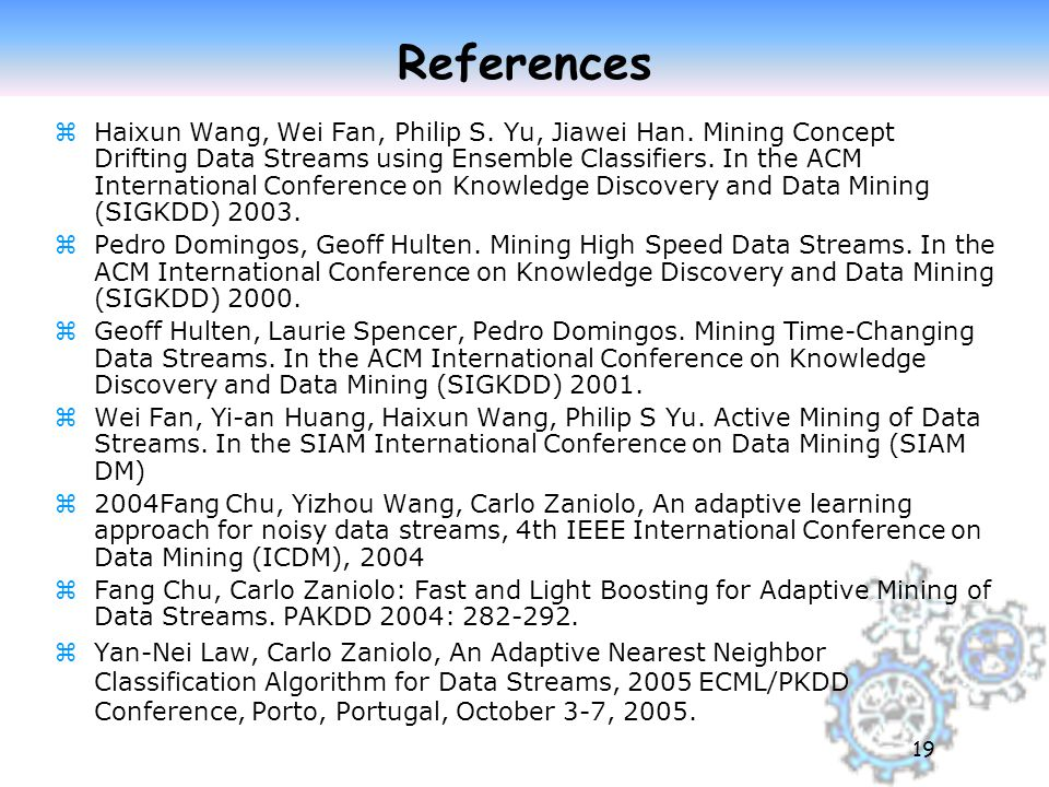 19 References zHaixun Wang, Wei Fan, Philip S.Yu, Jiawei Han.