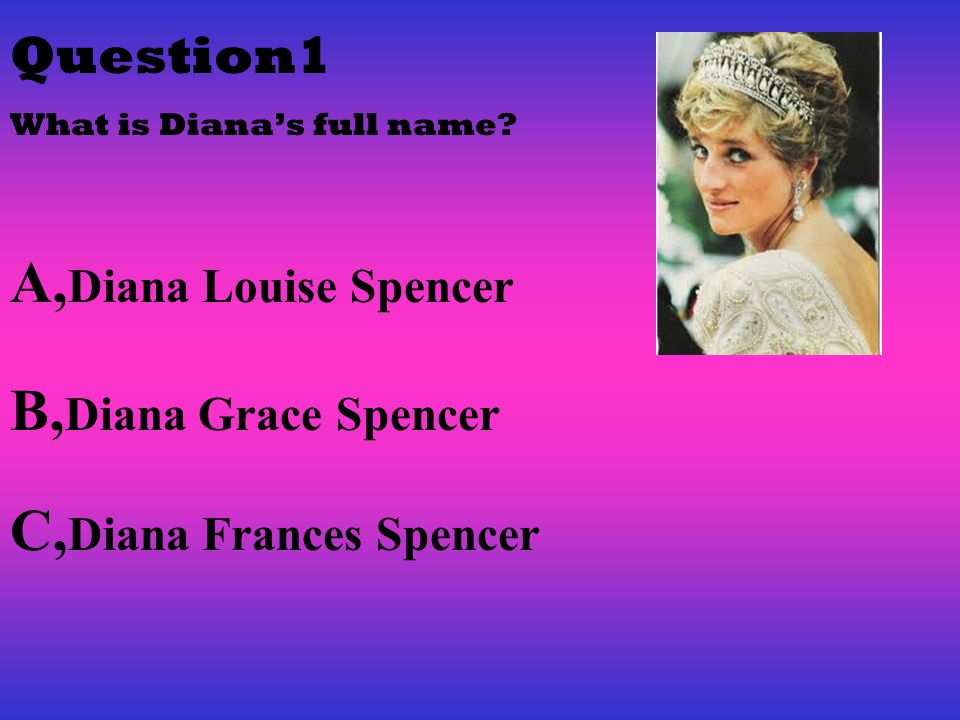 Question1 What is Diana's full name.