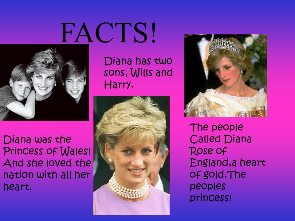 FACTS. Diana has two sons, Wills and Harry.