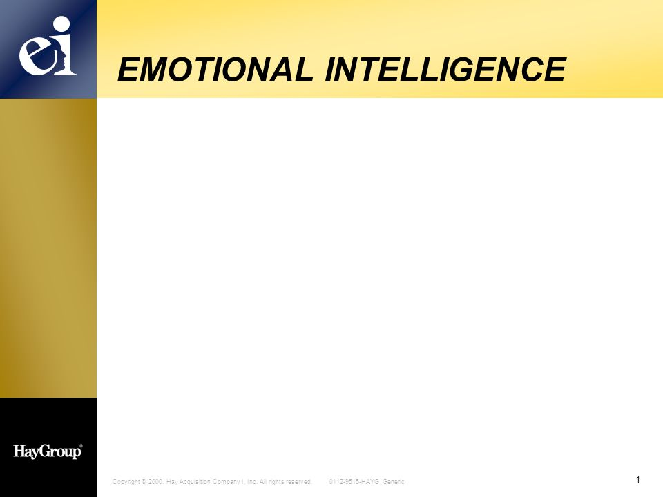 Copyright © 2000. Hay Acquisition Company I, Inc. All rights reserved. 0112-9515-HAYG Generic 1 EMOTIONAL INTELLIGENCE