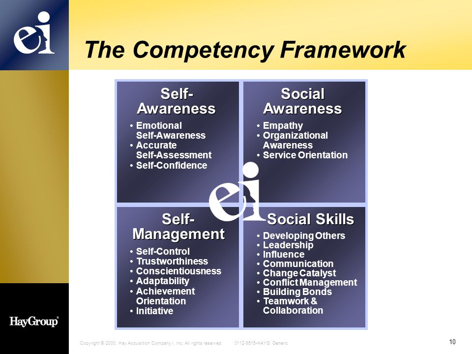Copyright © 2000. Hay Acquisition Company I, Inc. All rights reserved. 0112-9515-HAYG Generic 10 The Competency Framework Self- Awareness Self- Awaren