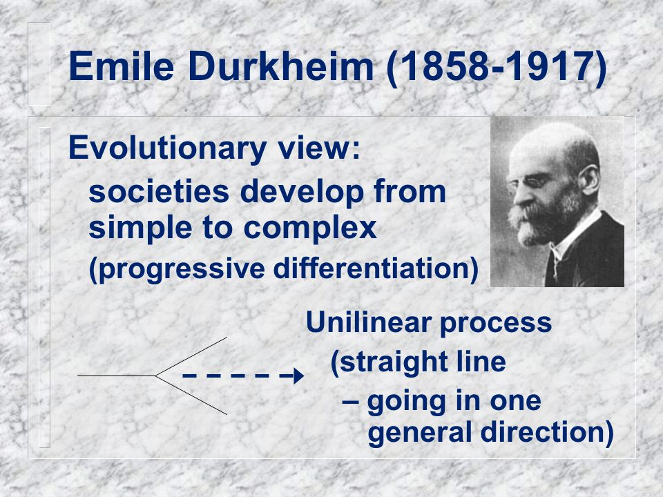 Emile Durkheim (1858-1917) Evolutionary view: societies develop from simple to complex (progressive differentiation) Unilinear process (straight line – going in one general direction)