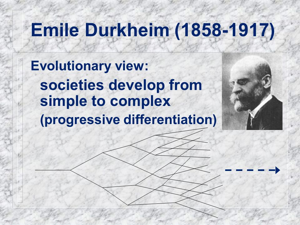Emile Durkheim (1858-1917) Evolutionary view: societies develop from simple to complex (progressive differentiation)