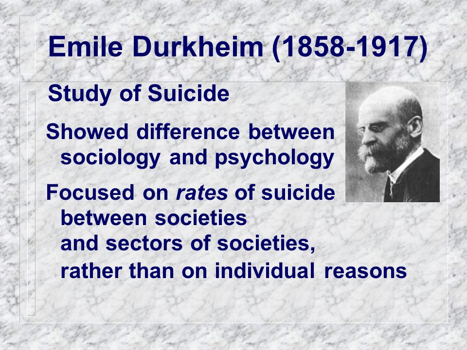 Emile Durkheim (1858-1917) Study of Suicide Showed difference between sociology and psychology Focused on rates of suicide between societies and sectors of societies, rather than on individual reasons