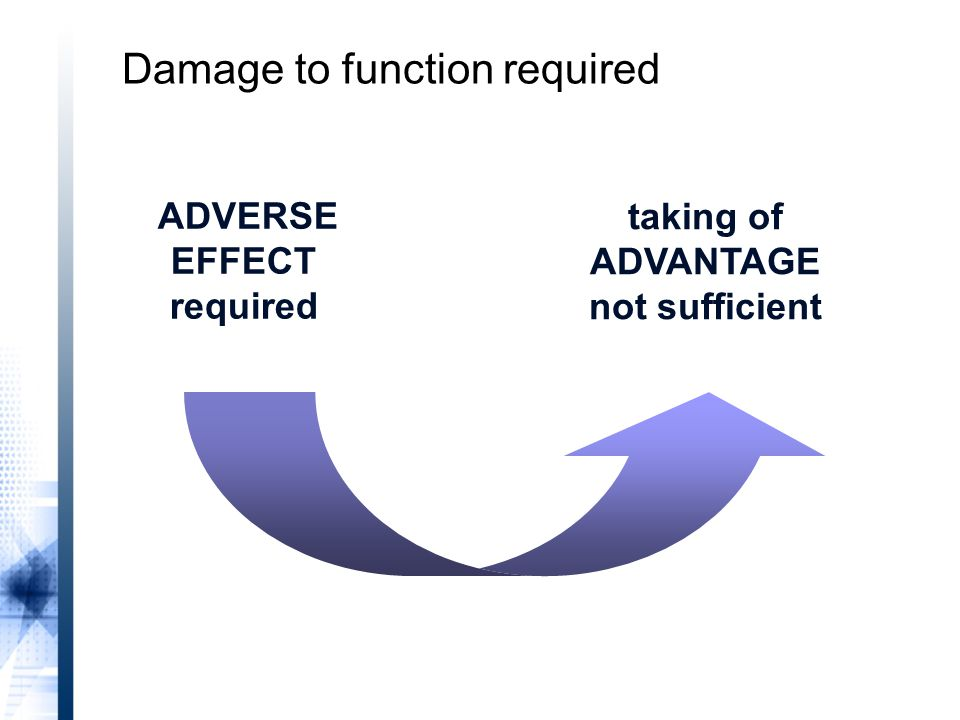 ADVERSE EFFECT required taking of ADVANTAGE not sufficient Damage to function required