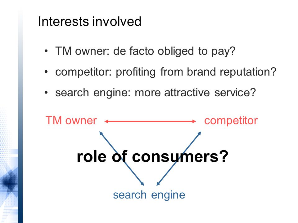 TM ownercompetitor search engine TM owner: de facto obliged to pay.