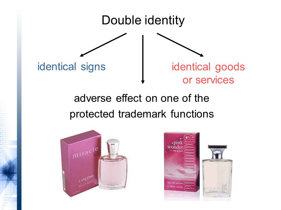 identical signs identical goods or services adverse effect on one of the protected trademark functions Double identity