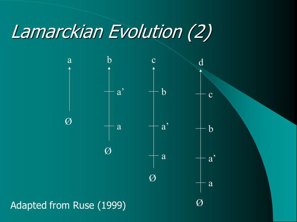 Lamarckian Evolution (2) Ø Ø Ø Ø abc d a a a a' b b c Adapted from Ruse (1999)