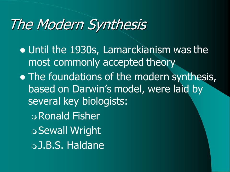 The Modern Synthesis Until the 1930s, Lamarckianism was the most commonly accepted theory The foundations of the modern synthesis, based on Darwin's model, were laid by several key biologists:  Ronald Fisher  Sewall Wright  J.B.S.