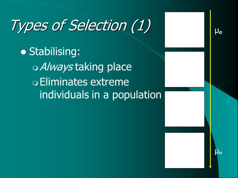 Stabilising:  Always taking place  Eliminates extreme individuals in a population Types of Selection (1) μøμø μnμn