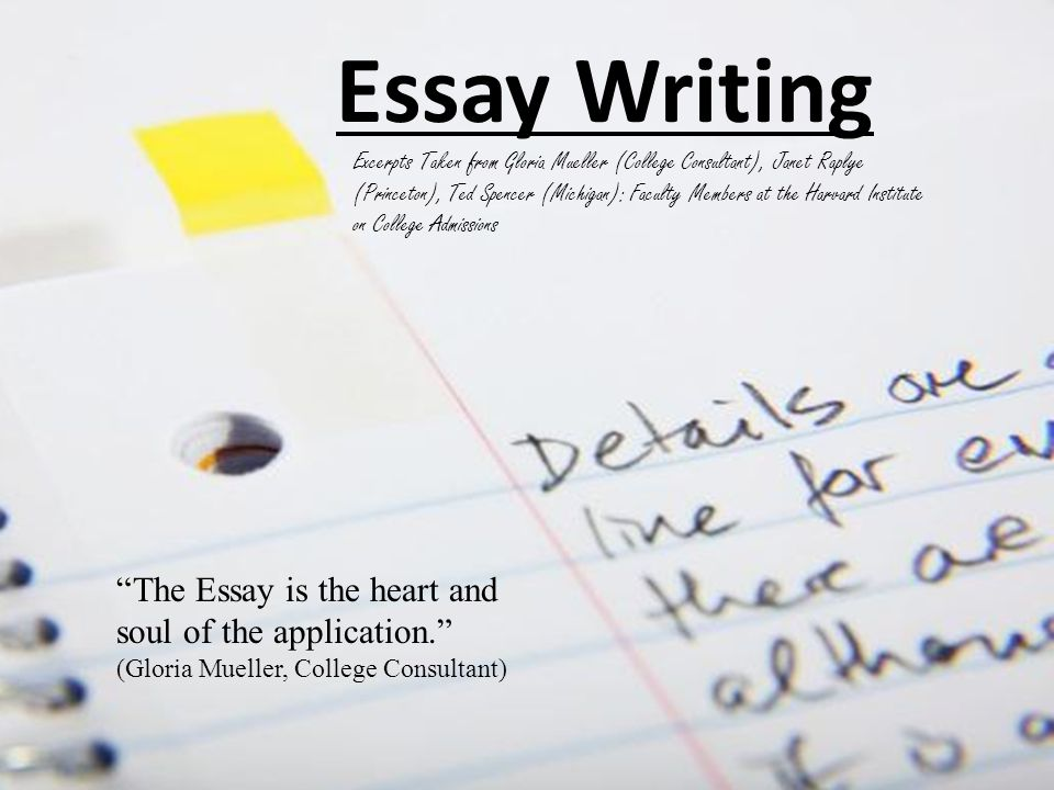 Essay Writing Excerpts Taken from Gloria Mueller (College Consultant), Janet Raplye (Princeton), Ted Spencer (Michigan): Faculty Members at the Harvard Institute on College Admissions The Essay is the heart and soul of the application. (Gloria Mueller, College Consultant)