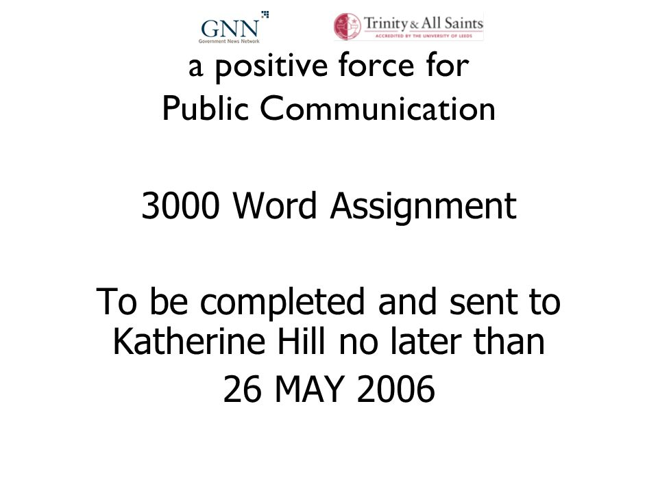 a positive force for Public Communication 3000 Word Assignment To be completed and sent to Katherine Hill no later than 26 MAY 2006