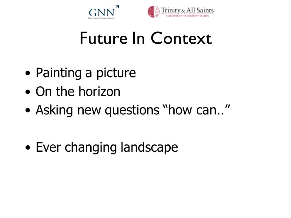 Future In Context Painting a picture On the horizon Asking new questions how can.. Ever changing landscape