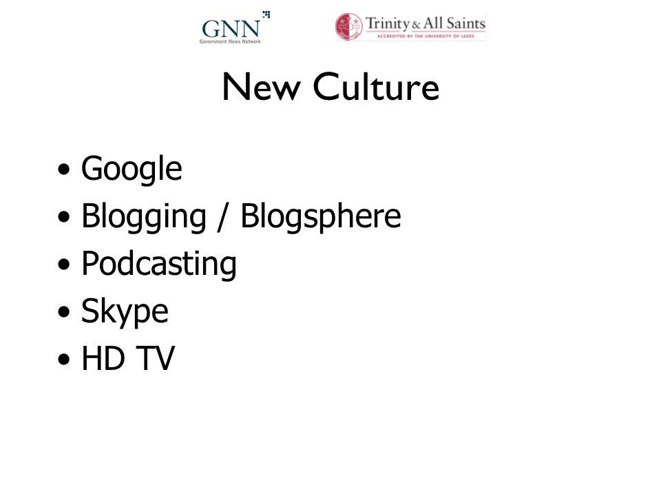 New Culture Google Blogging / Blogsphere Podcasting Skype HD TV