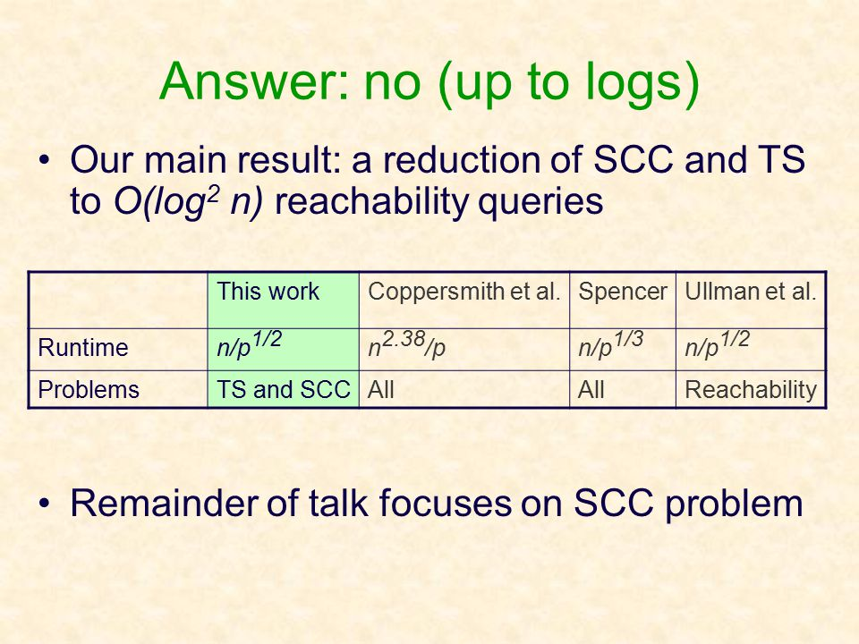 Answer: no (up to logs) Our main result: a reduction of SCC and TS to O(log 2 n) reachability queries Remainder of talk focuses on SCC problem This workCoppersmith et al.SpencerUllman et al.
