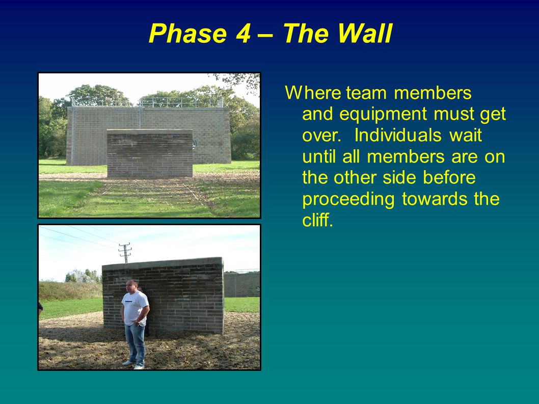 Phase 4 – The Wall Where team members and equipment must get over. Individuals wait until all members are on the other side before proceeding towards