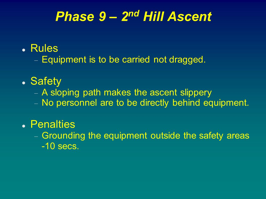 Phase 9 – 2 nd Hill Ascent Rules  Equipment is to be carried not dragged. Safety  A sloping path makes the ascent slippery  No personnel are to be