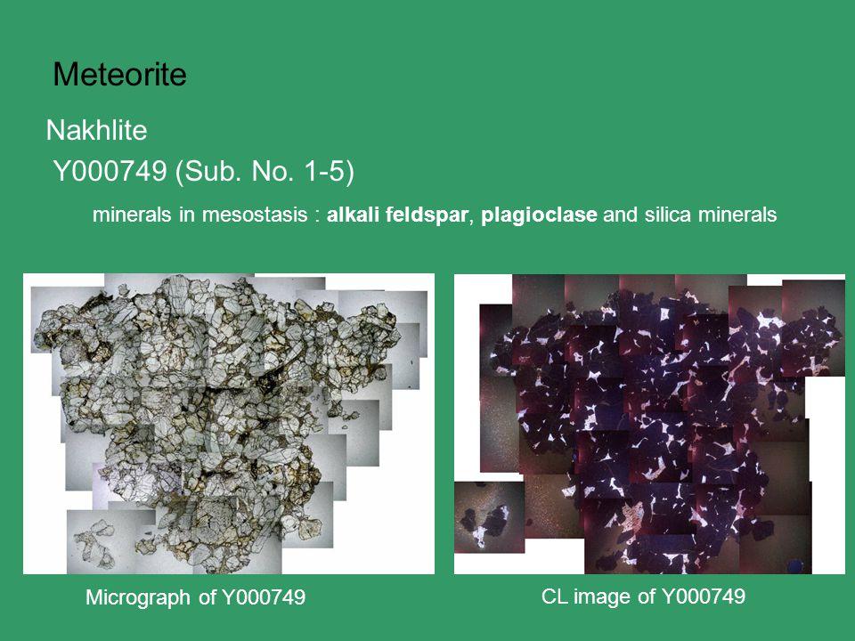 Meteorite Micrograph of Y000749 CL image of Y000749 Nakhlite Y000749 (Sub.