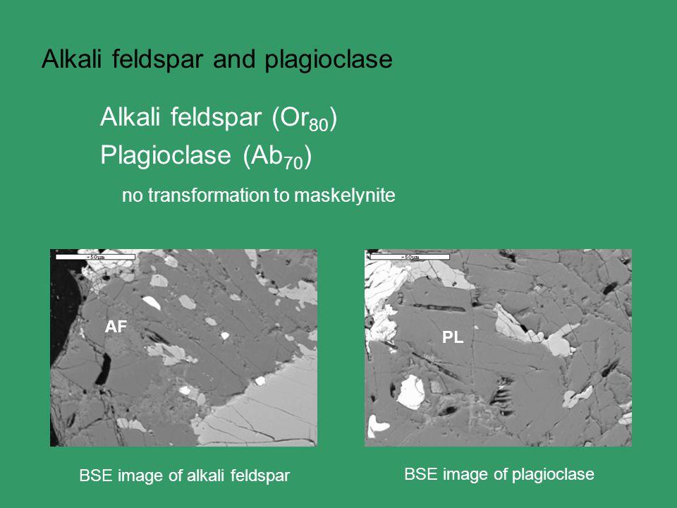 Alkali feldspar and plagioclase Alkali feldspar (Or 80 ) Plagioclase (Ab 70 ) no transformation to maskelynite BSE image of alkali feldspar BSE image of plagioclase AF PL