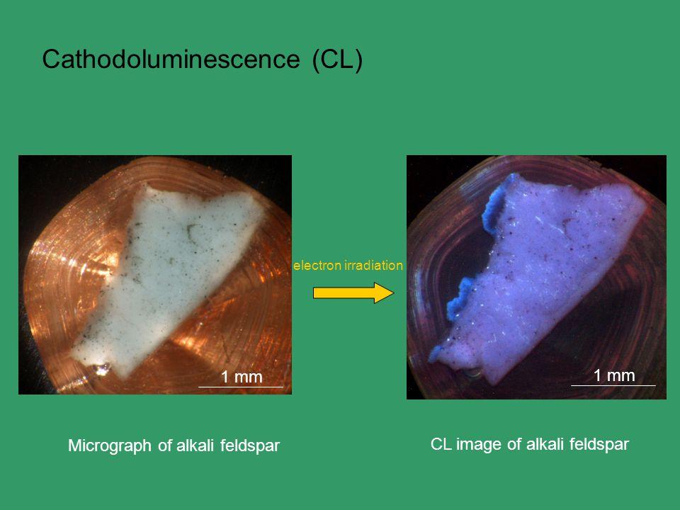 Cathodoluminescence (CL) electron irradiation Micrograph of alkali feldspar 1 mm CL image of alkali feldspar