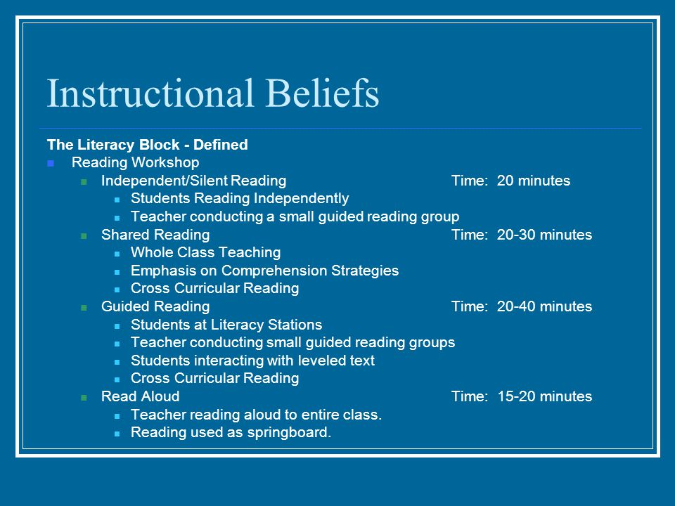 Instructional Beliefs The Literacy Block - Defined Reading Workshop Independent/Silent ReadingTime: 20 minutes Students Reading Independently Teacher conducting a small guided reading group Shared ReadingTime: 20-30 minutes Whole Class Teaching Emphasis on Comprehension Strategies Cross Curricular Reading Guided ReadingTime: 20-40 minutes Students at Literacy Stations Teacher conducting small guided reading groups Students interacting with leveled text Cross Curricular Reading Read AloudTime: 15-20 minutes Teacher reading aloud to entire class.