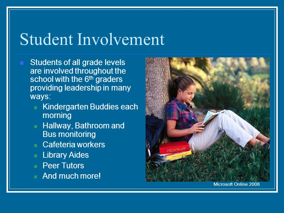 Student Involvement Students of all grade levels are involved throughout the school with the 6 th graders providing leadership in many ways: Kindergar
