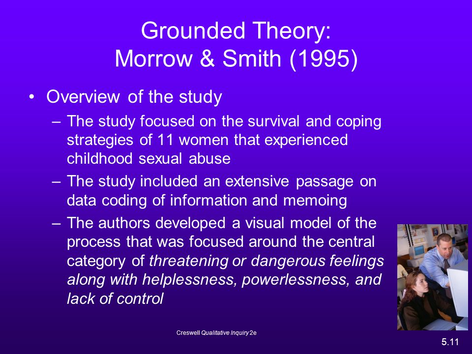 Creswell Qualitative Inquiry 2e 5.11 Grounded Theory: Morrow & Smith (1995) Overview of the study –The study focused on the survival and coping strate