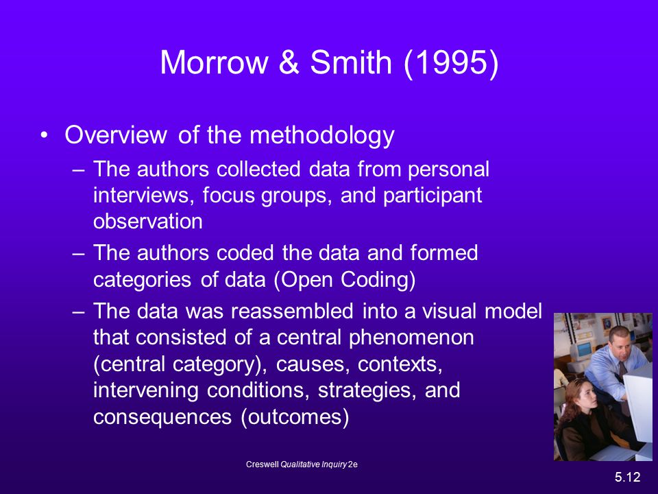 Creswell Qualitative Inquiry 2e 5.12 Morrow & Smith (1995) Overview of the methodology –The authors collected data from personal interviews, focus gro