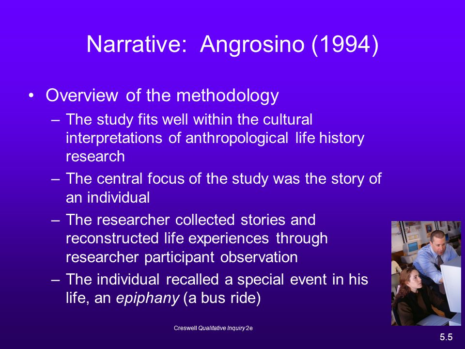 Creswell Qualitative Inquiry 2e 5.6 Angrosino (1994) Overview of the methodology –The author reported detailed information about the setting or historical context of the bus trip, which situated the epiphany within a social context –The author reflected on his own experiences and acknowledged that the study was his interpretation of Vonnie Lee's life