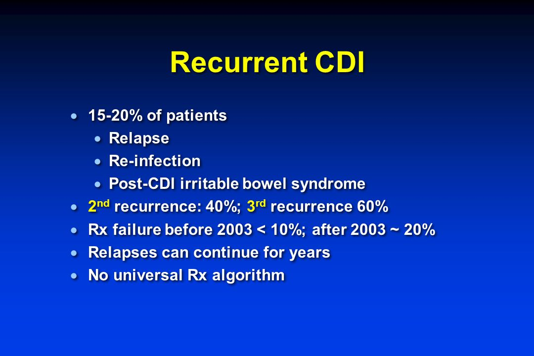 Recurrent CDI  15-20% of patients  Relapse  Re-infection  Post-CDI irritable bowel syndrome  2 nd recurrence: 40%; 3 rd recurrence 60%  Rx failu