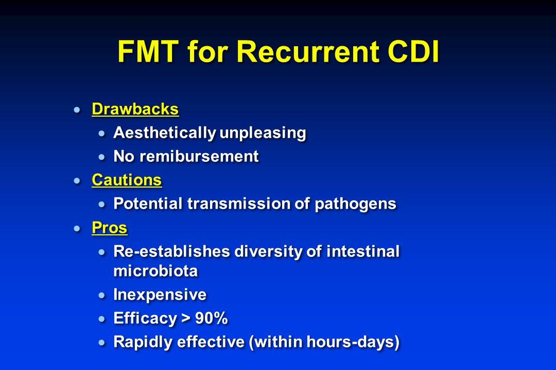 FMT for Recurrent CDI  Drawbacks  Aesthetically unpleasing  No remibursement  Cautions  Potential transmission of pathogens  Pros  Re-establish