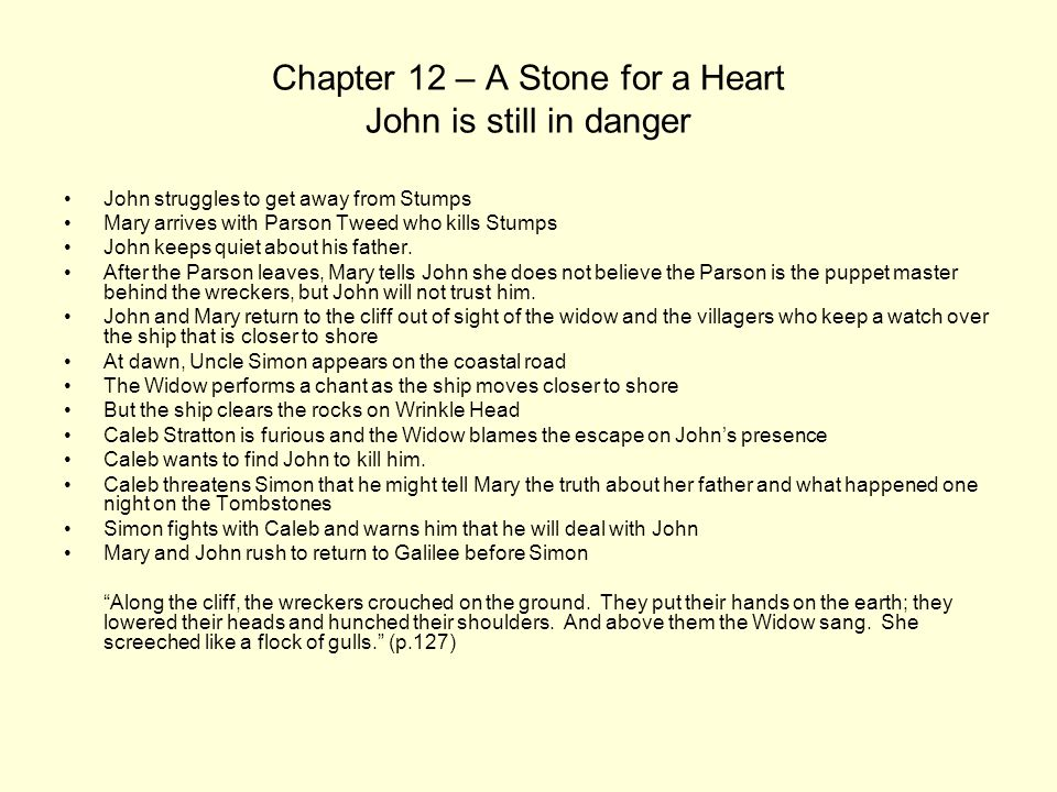 Chapter 12 – A Stone for a Heart John is still in danger John struggles to get away from Stumps Mary arrives with Parson Tweed who kills Stumps John k