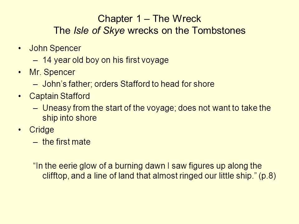 Chapter 1 – The Wreck The Isle of Skye wrecks on the Tombstones John Spencer –14 year old boy on his first voyage Mr. Spencer –John's father; orders S