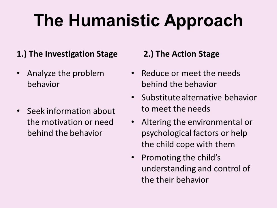 The Humanistic Approach 1.) The Investigation Stage Analyze the problem behavior Seek information about the motivation or need behind the behavior 2.) The Action Stage Reduce or meet the needs behind the behavior Substitute alternative behavior to meet the needs Altering the environmental or psychological factors or help the child cope with them Promoting the child's understanding and control of the their behavior