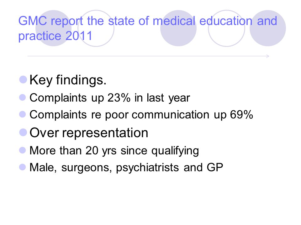 GMC report the state of medical education and practice 2011 Key findings.
